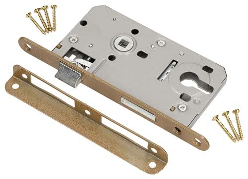KOTARBAU Cerradura de Puerta de Embutir 72x50mm con Cilindro con Palanca para Puerta Derecha Izquierda Marco de Madera Metal