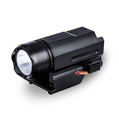 Zeadio Linterna LED CREE [Garantía de 5 Años], con Adaptador rápido Desmontable para riel de Picatinny/Weaver y 3 Modos (Estroboscopio, Normal Brillo y Fuerte Brillo), FLT-01F
