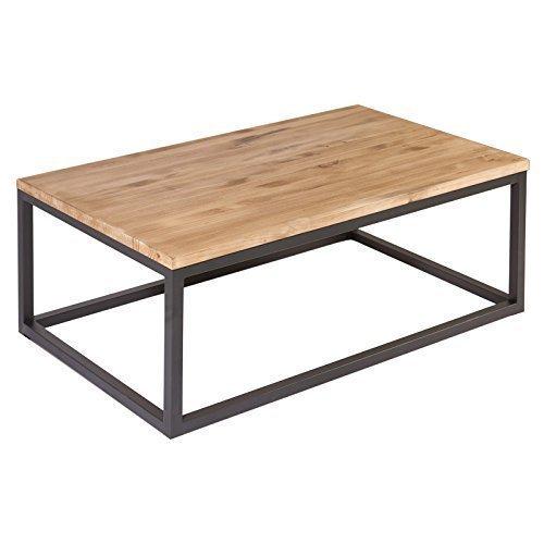 Indhouse - Mesa de centro loft de estilo industrial en hierro y madera maciza Farrow