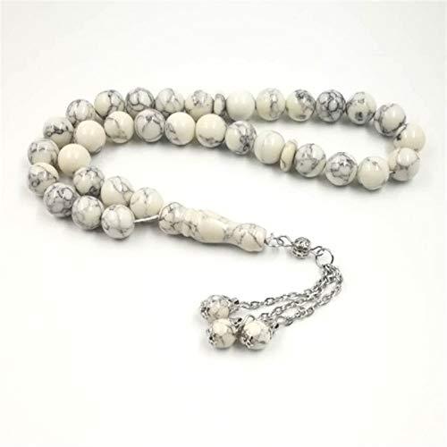JWWLLT Musulmanes Tasbih Blanco Turquois 33 Perlas de oración Regalo islámico Rosario de Piedra Natural (Length : 12mm, Metal Color : Silver Plated)