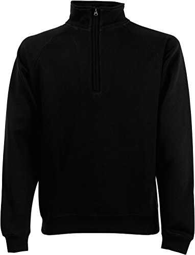 Fruit of the Loom Herren Zip Neck Sweat Sweatshirt, Schwarz (Black 101), Large