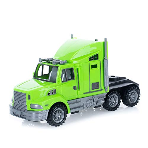 Semi Truck Bright Lime Green 9 x 4 Acrylic Friction Powered Toy Vehicle