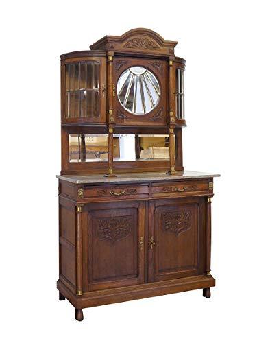 Antikes Buffet mit Rundbogen um 1920 aus Eiche | Buffetschrank Küchenschrank | 5-türig Messingapplikationen | B: 120 cm (10162)