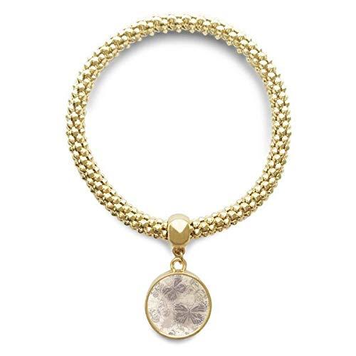 DIYthinker Womens elegante vintage grijze vlinder behang gouden armband ronde hanger sieraden ketting