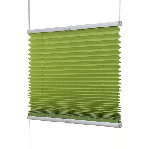 Ventanara Plissee ohne Bohren Grün Klemmfix Plisseerollo Faltrollo verspannt inklusive Premium Klemmträger 100 x 130 cm
