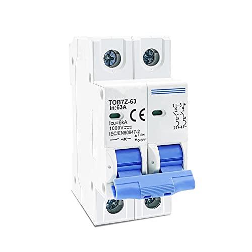 Mini disyuntor solar 2P DC 1000V 3A 6A 10A 16A 20A 25A 32A 40A 50A 63A DC MCB para PV System-63A