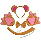 4pcs Monkey Ears Headband Tie Tail Glove Set Kids Animal Party Costume Cosplay Accessories Kids Performance Prop (Brown, Pink)