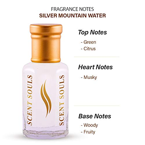 Scent Souls Silver Mountain Water Long Lasting Attar Fragrance Perfume Oil For Men- 6 ml