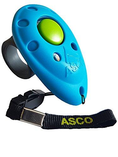 ASCO Premium Clicker, Finger Clicker für Clickertraining, Hunde Katzen Pferde Profi Clicker, Hundetraining Klicker blau AC04F