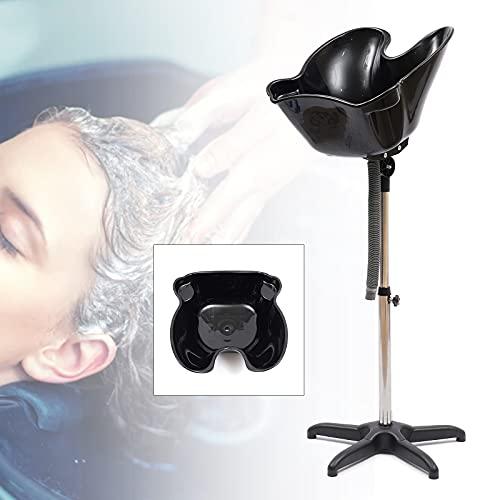 Height Adjustable Shampoo Basin Sink Stand w/Drain Hose, Portable Shampoo Hairdresser Hairdressing Back Wash Bowl Barber Backwash Sink Beauty Salon Tub Equipment