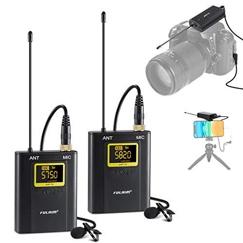 FULAIM WM300 Sistema de Micrófono Lavalier Inalámbrico Omnidireccional UHF de 20 Canales para iPhone Android Smartphone Cámara Videocámara, Grabar Youtube, Entrevista, Estudio, Vídeo - 2TX