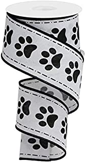 Wired Ribbon Black and White Paw Prints on Royal 2.5