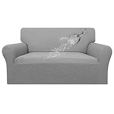Easy-Going 100% Waterproof Loveseat Couch Cover,Dual Waterproof Sofa Cover, Stretch Jacquard Sofa Slipcover, Leakproof Furniture Protector for Kids, Pets, Dog and Cat ( Loveseat, Light Gray)