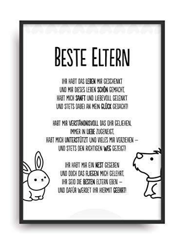 Geschenk Karte BESTE ELTERN Kunstdruck Ehrentitel Mama Papa Auszeichnung Bild ohne Rahmen DIN A4