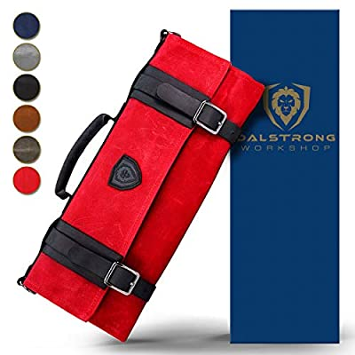 Dalstrong - Nomad Knife Roll - 12oz Heavy Duty Canvas & Top Grain Leather Roll Bag - 13 Slots - Interior and Rear Zippered Pockets - Blade Travel Storage/Case (Crimson Red)