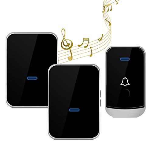Wireless Doorbell with 2 Receivers-Easy Install, Over 1000-feet Range Feet with 45 Melodies, 4 Volume Levels & LED Flash (Black-gold)