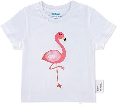 AMZTM Camiseta de Manga Corta con Flamenca Baby Niñas Blanca Tops Blusas Regalo