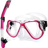 Greatever Gafas y Tubo de Snorkel Set Kit de Snorkeling Anti-Vaho Anti-Fuga Máscara de Buceo para Adultos (Pink)