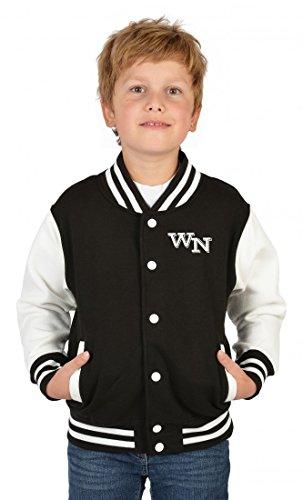 Goodman Design  USA Collegejacke für Jungen mit persönlichen Initialien in schwarz - Kinder Jacke Schule Freizeit Geschenk, Kinder...