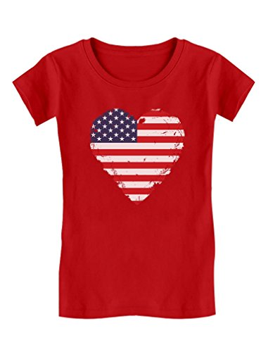 TeeStars - Love USA 4th of July American Heart Flag Girls' Fitted Kids T-Shirt M (7-8) Red