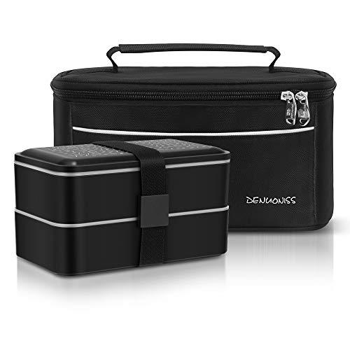 Meigirlxy Boîte à Bento Lunch Box Isotherme, Set de 2 Couvert et Portable Sac à Déjeuner Thermique/Boîte à Repas avec 2 sans BPA Micro Onde Réutilisable (Noir)