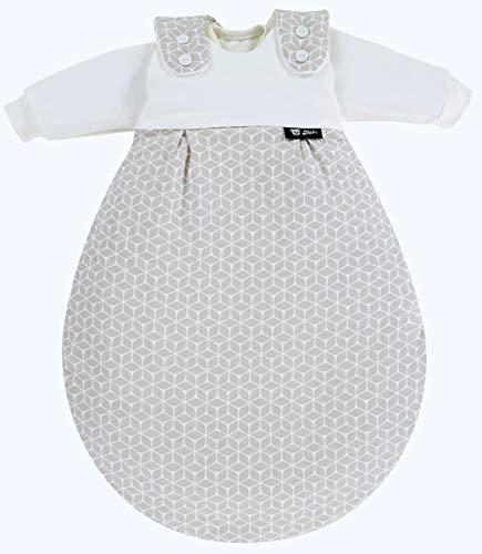 Alvi Baby Mäxchen Original | Babyschlafsack 3-teilig | Alvi Außensack & zwei Innensäcke | Kinderschlafsack mitwachsend & atmungsaktiv, Größe:62/68, Design:Raute taupe dunkel