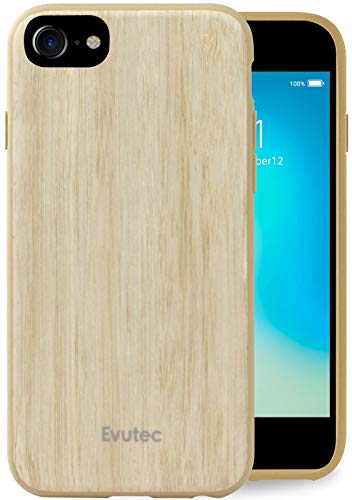 iPhone 6/6s/7/8/SE(2020) Compatible Case, Evutec AER Series Real Wood Thin Slim [1.6 mm] Lightweight Shock Absorption Premium Protective Phone Case cover- Bamboo (AFIX+ Magnetic Mount Included)
