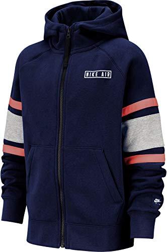 Nike Kinder Hoodie Air Full Zip, Blue Void/Dk Grey Heather/Whit, L, BV3590