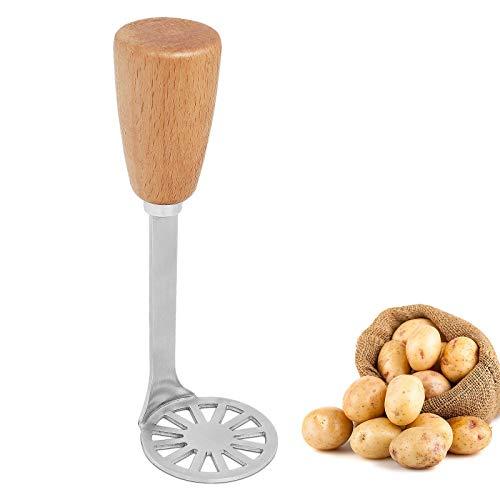 Asdirne Kleine Kartoffelstampfer, Stampfer Kartoffel mit Holzgriff und Lebensmittelechter Edelstahl-Masherplatte, Multifunktional Kartoffelstampfer, 15,3CM