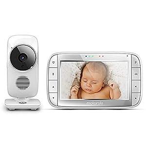 Motorola Baby MBP 48 Vigilabebés Vídeo con Pantalla LCD, Modo Eco y Visión Nocturna, Blanco