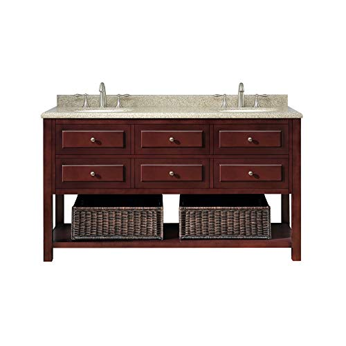 Ove Decors Danny 60 Bathroom Double Vanity with Brown Peppered Granite Countertop and Two Undermount Ceramic Basins, Warm Chocolate, 60-Inch