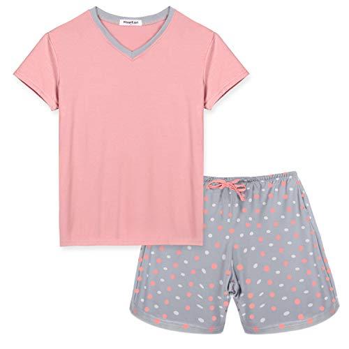 Hawiton Pijamas para Mujer Verano Corto Pijama de Algodón