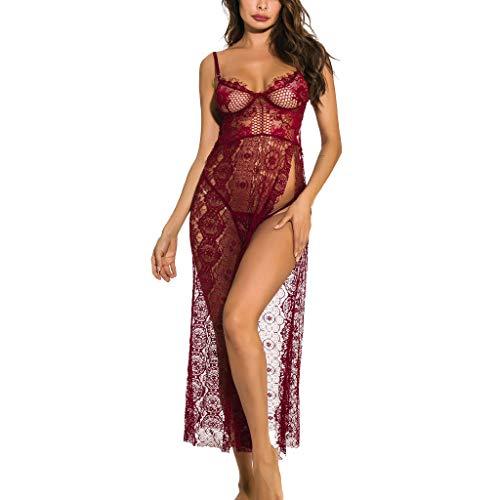 unbrand ❀KWJ Frauen Lingerie Kleid sinnliche Damen Nachtwäsche Spitze Nachthemd Babydoll Nachtkleid große Größen Frauen Wäsche mit String
