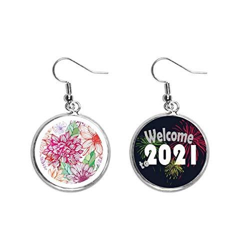 Color Decoración Flor Pompon Oído Colgantes Pendiente Joyería 2021 Bendición
