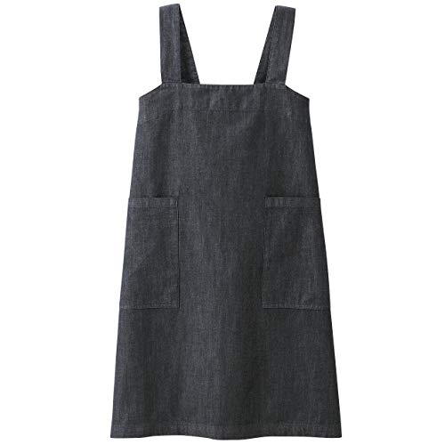 MUJI Cotton Denim Cook's shawl type apron M size Length 79cm & Pouch MoMA Navy