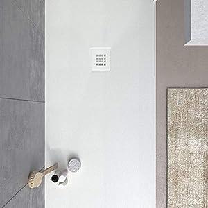 VAROBATH - Plato de ducha de Resina MYSTONE Blanco - Carga Mineral, textura pizarra, antideslizante y antibacteriano. Fabricado en España. (80x170)