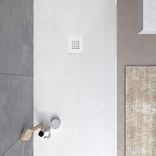 VAROBATH - Plato de ducha de Resina MYSTONE Blanco - Carga Mineral, textura pizarra, antideslizante y antibacteriano. Fabricado en España. (90x100)