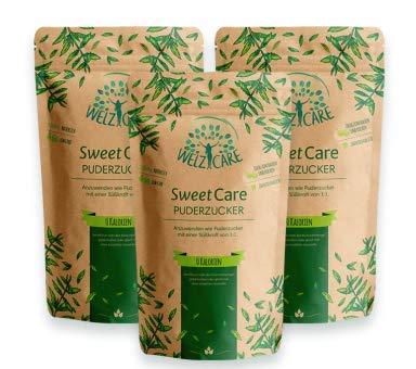 SweetCare PREMIUM Puderzucker - 3 x 250g - Zuckerersatz – 100% Vegan – keine Kalorien – Low Carb – mit Erythritol und Stevia – Made in Germany