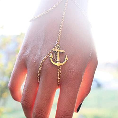 TseenYi Ancla de dedo pulsera de oro esclavo cadena de mano Boho arnés de mano pulsera de mano...