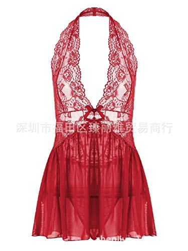 Sexy lingerieErotische knuffels en bodysuits voor dames Erotische nachtkleding en badjas voor dames Grote maten pyjama's XL dames sexy temperament hangende hals kanten jurk rose red_M