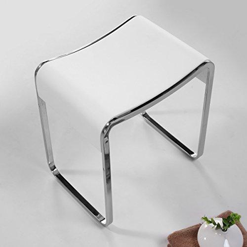 KKR Design Kunststein Badhocker/Duschhocker/Sitzhocker aus Mineralguss Modell: Stool-E, Oberfläche:Glänzend