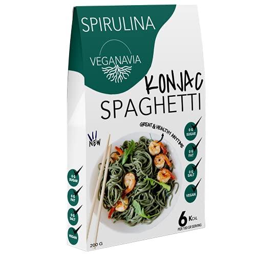 Spaghetti con Spirulina Konjac Pasta Sin Gluten 10 Pack 200 gramos   Vivir Sin Gluten Con Harina Sin Gluten Con La Pasta Contra Intolerancia Gluten   Bajo En Calorías (Espaguetis Spirulina)