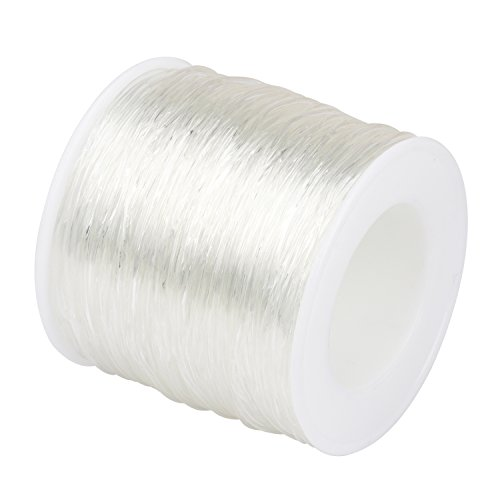 Amariver 1.2mm Elastic Stretch Bead Cords, Transparent Elastic Bracelet String Threading Line for DIY Accessories Jewelry Making (Clear)