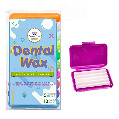 Dental Orthodontic Wax for braces and oral appliances (10 -Pack, 50 strips total), relieves irritation and pain, Odorless, Tasteless