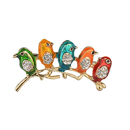 N / A Nigoz Five Little Birds Brooch Animal Pendant Pin Broach Crystal Ladies Badges for Wedding Dress Jewelry Women Small Gift StableQuality Practical and Cost-Effective