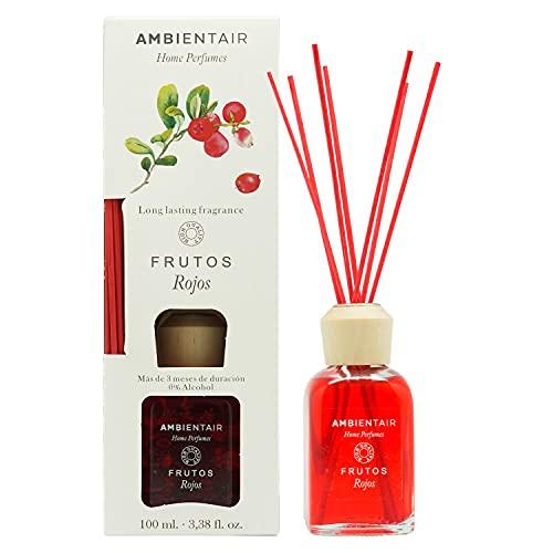 Ambientair Home Perfumes. Difusor de Varillas perfumadas Aroma Frutos Rojos. Ambientador Mikado Aroma Frutos Rojos. Difusor 100 ml con palitos de ratán. Ambientador sin Alcohol para casa.