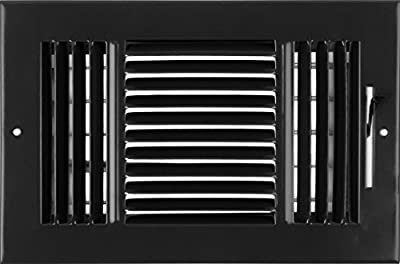 "10""w X 6""h 3-Way AIR Supply Grille - Vent Cover & Diffuser - Flat Stamped Face - [Outer Dimensions: 11.75""w X 7.75""h]"