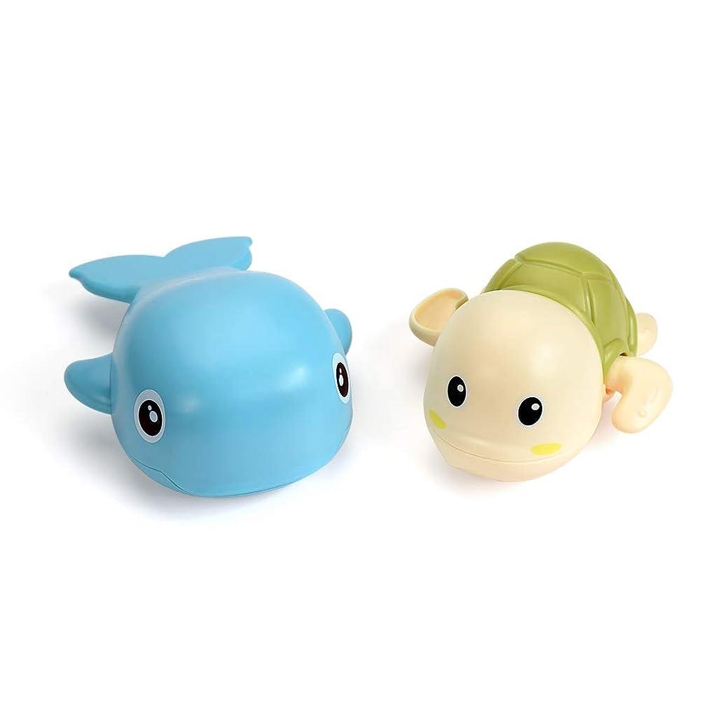 フォーカスランダム一過性KOME 泳げるカメ&イルカ お風呂おもちゃ お風呂遊び 浴槽のおもちゃ 知育玩具 2点セット