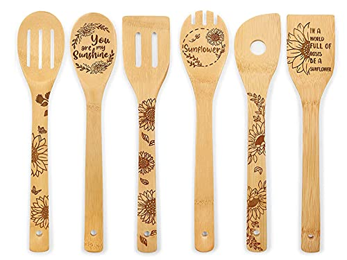 6PCS Sunflower Wooden Spoons Set, Hello Sunshine Burned Engraved Bamboo Cooking Utensils - Sunflower Kitchen Decor Baking Non Stick Wooden Spatulas, Unique Gifts for Friends Mom Anniversary New Home
