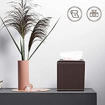Monland PU Leather Facial Tissue Box Waterproof Napkin Holder Tissue Box Cover Case for Office Car Automotive Decoration,Brown